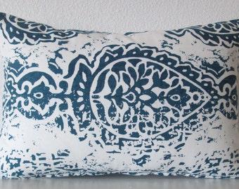 Navy blue damask lumbar pillow cover - Premier Prints Manchester Premier Navy