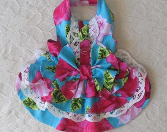 Dog Harness Dress Bright with Roses Small