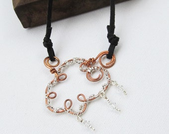 Wire Silver Cloud Silver Lining Necklace Cord Crystal Dangles Copper Pendant