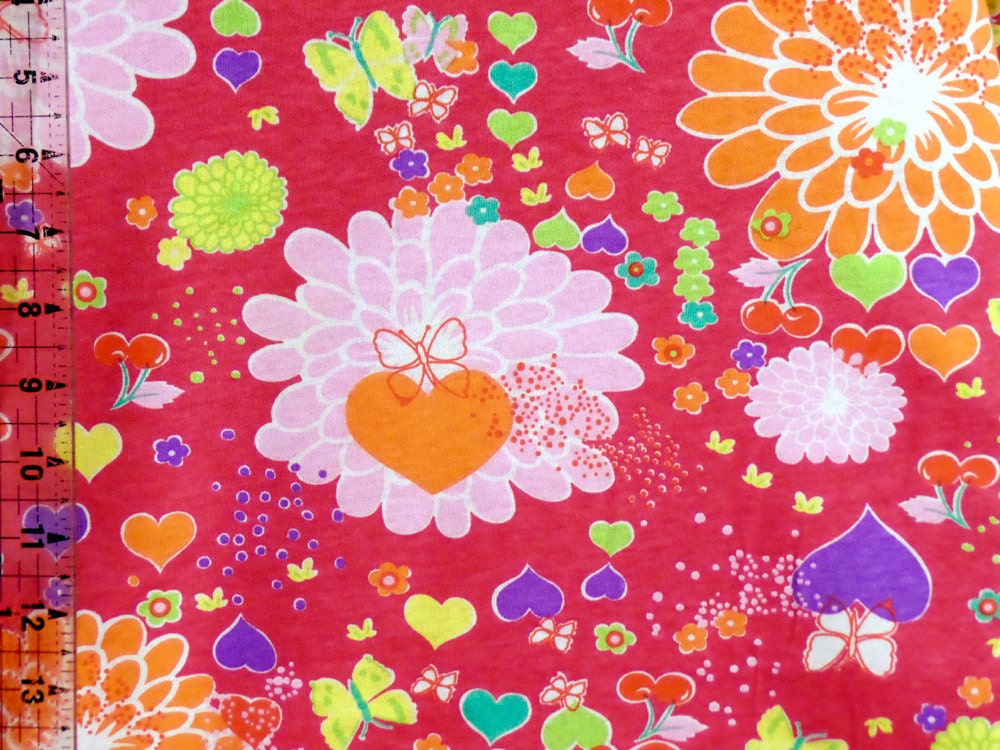 Kids cotton knit fabric flower knit fabric bright pink for Kids knit fabric