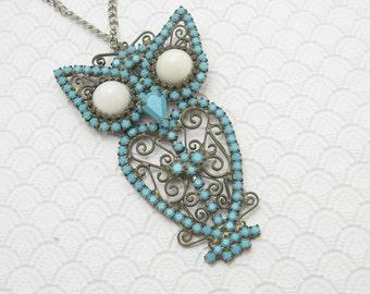 Large Vintage Owl Pendant Necklace Blue Jewelry