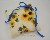 Sunflower Ringbearer Pillow, FFT Original Design, Woodland Rustic Wedding, Ring Cushion, yellow, blue, Made to order