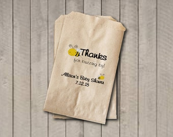 Baby Shower Favor Bags, Gender Neutral Candy Bags, Bee Baby Shower Favor Bag, Baby Shower Bags, Candy Buffet Bags - Yellow & Black