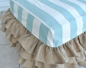 Burlap Ruffled Ottoman with Covington Stripes