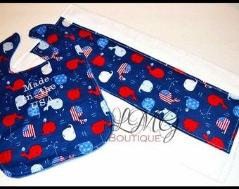 Fourth of July  bib and burp cloth set, Whale minky bib, Patriotic Minky bib, Whales cloth, Reversibel bib