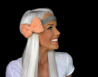 Pastel Peach Coral  & Light Heather Grey Crochet Bow Headband w/ Natural Vegan Coconut Shell Buttons Hair Girl Woman Head Knit Accessories