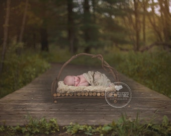 Instant Download Photography Prop - Twig Bed on Bridge - DIGITAL BACKDROP for Photographers
