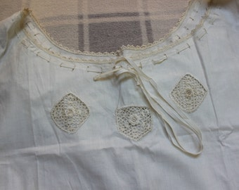 Victorian Chemise Under Garment Hand made Lace Ribbon Antique French Lingerie VINTAGE by Plantdreaming