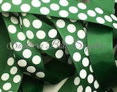 SUPER SALE---7/8 inch wide Grosgrain Ribbon---5 Yards---Big Dot Forest Green with White----USA Designer