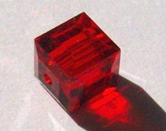 Sale -- 8mm Swarovski cubed beads Cube style 5601 Crystal Beads.....LIGHT SIAM (red) -- 6 pieces
