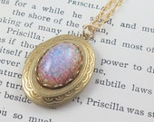 Mothers Gift Locket Pink Opal Locket Bridesmaid Necklace Photo Locket Pink Opal Necklace Gift for Her