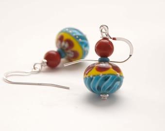 Red and Yellow Earrings, Lampwork Earrings, Glass Earrings, Colorful Earrings, Beaded Earrings