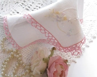 Handkerchief, Hanky, Wedding Hanky, Pink Tatted Edge, Embroidered, by mailordervintage