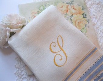 "Tea Towel, Linen, Monogrammed with Letter 'G"", Shabby Cottage, French Country, by mailordervintage one tsy"