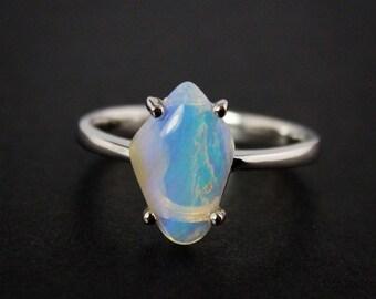 50% OFF SALE - Australian Opal Gemstone Ring - October Birthstone - Blue, Milky White