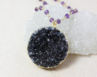 Black Druzy Pendant Necklace – Gemstone Chain – Choose Your Gemstone