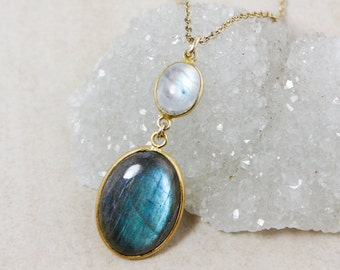 Rainbow Moonstone and Blue Labradorite Necklace – Gold-Plated Chain