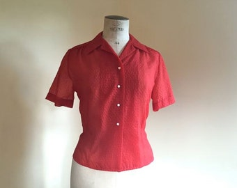 1940s-50s red blouse Tomato red puckered nylon blouse by Morley 36-38 bust