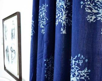"curtains window curtains indigo bohemian curtain blue bedroom - 44""x84"" hand block printed Cotton Home Living decor housewares 1 PANEL -TREE"