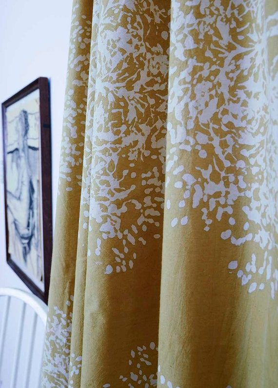 Yellow Window Curtains Window Treatment Block Print Natural Dye Home And Living Houseware One