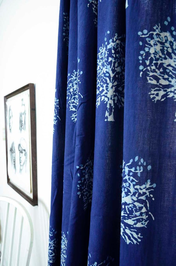 curtains window curtains indigo bohemian curtain blue bedroom