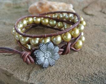 Golden Freshwater Pearl Beaded Leather Wrap Bracelet