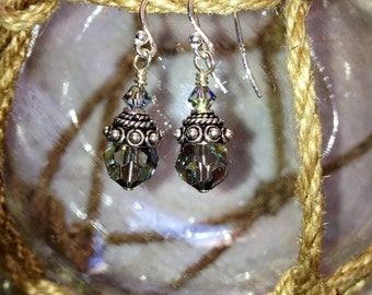Swarovski crystals, bali silver, sterling silver dangle earings