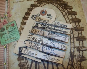FRENCH handstamped Clothes pins tag PARIS decor,French decor,shabby chic,EIFFEL Tower