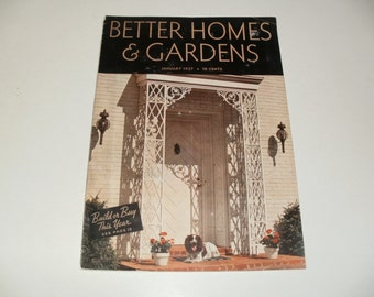 Vintage Better Homes and Gardens Magazine January 1937 - Retro 1930s Collectible, Art, Vintage Ads, Paper Ephemera