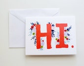 HI - Colorful Florals - Illustrated Watercolor Greeting Card - A-2