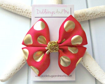 Gold and Red Boutique Hair Bow, Red and Gold Hair Bow, Girls Red Hair Bow, Boutique Bow, Girls Hair Accessories, Gold Dots Hair Bow