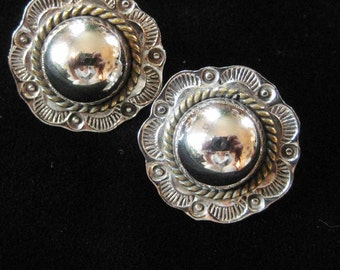 Taxco Mexico Southwestern Style Button Earrings