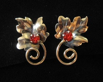 Gold Filled Maple Leaf Earrings with Spiral Stem