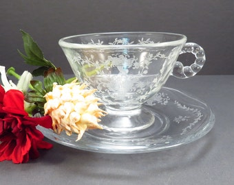 Fostoria Mayflower Coffee or Tea Cup and Saucer Glass Vintage 1940s Crystal Glass Etched Pattern Stemware
