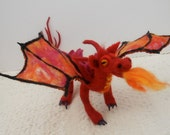 Rojo a red fire dragon fantasy creature needle felted dragon collectable
