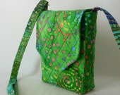 Mini Mini Hipster Smart Phone Case Adjustable Strap Quilted Fabric Batik Green