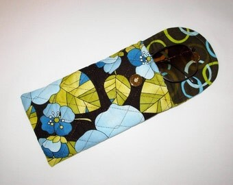 Glasses Case Quilted Mod floral Blue Brown Green
