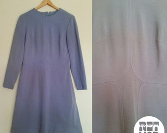 Dusty Blue Mod Scooter Shift Dress in Wool - Simple Chic and Cute!
