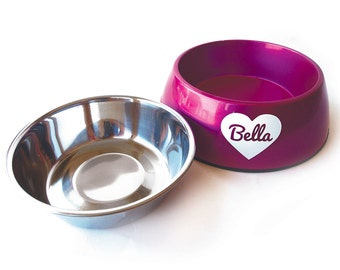 Dog Bowl -Removable insert - Heart - Personalized - Shimmer & Shine