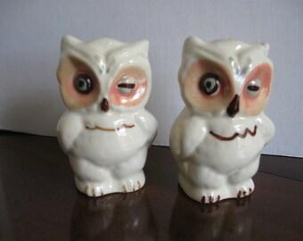 Vintage Winking Owls Salt and Pepper Set