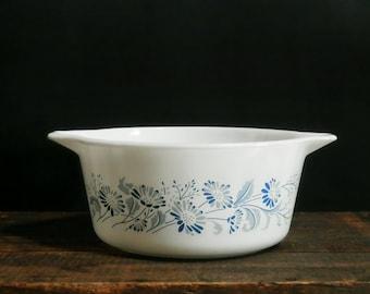 Pyrex Colonial Mist Casserole, Cinderella Handles, Baking Dish, Serving Bowl, Vintage Pyrex 474, Blue Kitchen