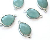 Peruvian Chalcedony Bezel Connector // Faceted Gemstone  Pendant // Sterling Silver Plated Setting // Craft Jewellry Supply