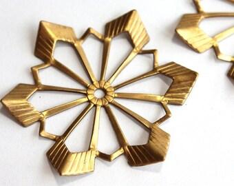 2 Vintage 1960s  Star Stampings // 50S 60s Craft Jewelry Supply // Starburst // Snowflake // Brass