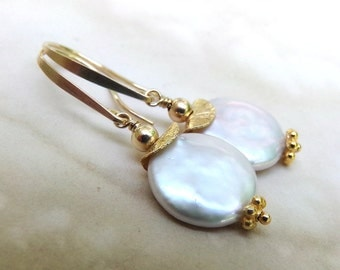 Pearl Earrings, White Pearl Earrings, Gold Earrings, White Coin Pearl Earrings, White Gold Earrings, June Birthstone - Bali Moon