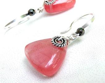 Pink Earrings, Cherry Pink Earrings, Sterling Silver, Volcano Cherry Quartz, Pink Silver Earrings - Pink Lemonade