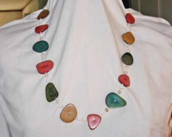 Vintage Long Multicolored Polished Wood and White Glass Necklace (N-1-3)