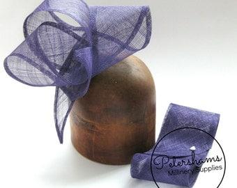 Purple Wide Sinamay Ribbon Sash for Millinery, Hat Trimming & Fascinators