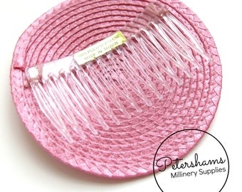10cm Artificial Straw Fascinator Hat Base with Comb - Dusky Pink