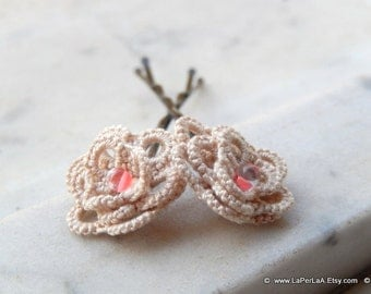 Handtatted Lace hairpins with czech crystals - ROSES - Bridal bride's maid  - cream