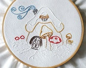 PDF Embroidery Pattern - Winter Gnome Cottage Christmas Holiday Embroidery Pattern